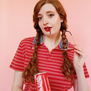 Red and White Striped Vintage Tee, Size M